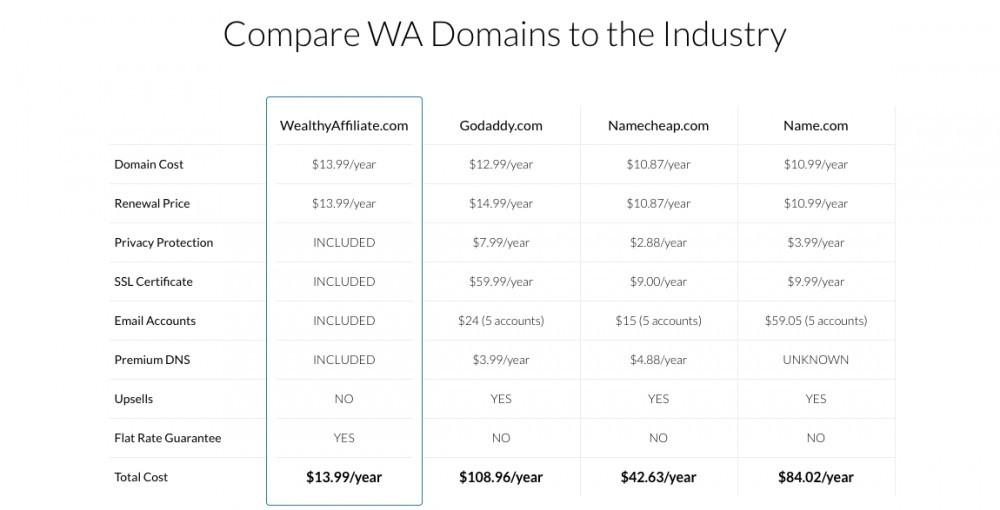 Wealthy Affiliate Domain Hosting Comparison